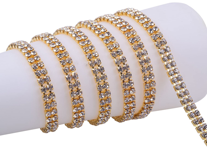 KAOYOO 2 Rows 2 Yards Crystal Rhinestone Close Chain Trim, SS16/4.0mm/0.16, Silver Chain with Clear Crystal Rhinestone SS16/4.0mm/0.16