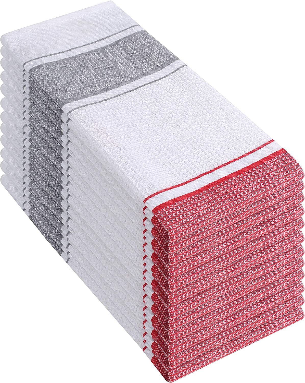 Elvana Home 12 Pack Kitchen Dish Towels 100% Cotton 16x26 Waffle Stripe, Dish Cloths, Tea Towels, Bar Towels, Durable Machine Washable Ultra-Absorbent Kitchen Towels with Hanging Loop, Red White