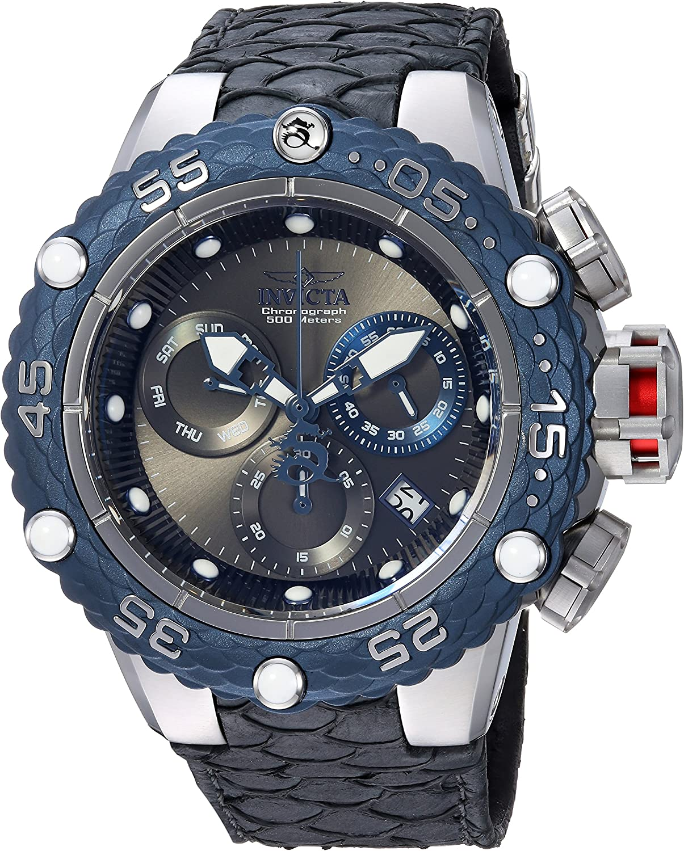 Invicta Men s Subaqua Stainless Steel Quartz Watch with Leather Calfskin Strap, Black, 28.7 Model 25068
