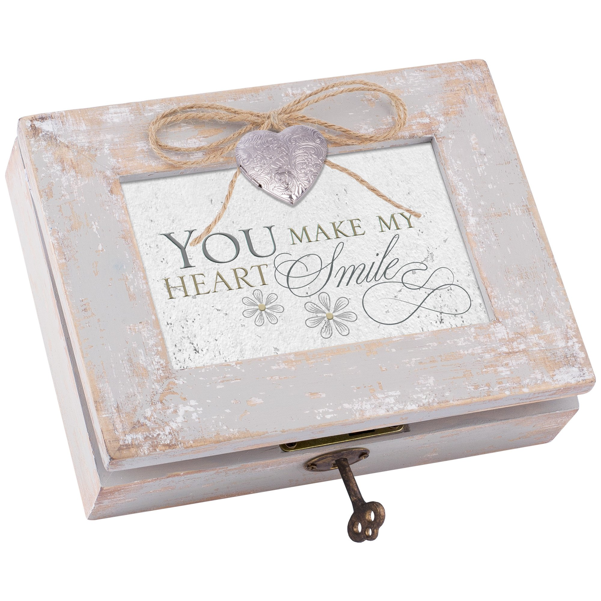 Cottage Garden You Make My Heart Smile Distressed Wood Locket Jewelry Music Box Plays Tune You Light Up My Life by Cottage Garden (Image #2)