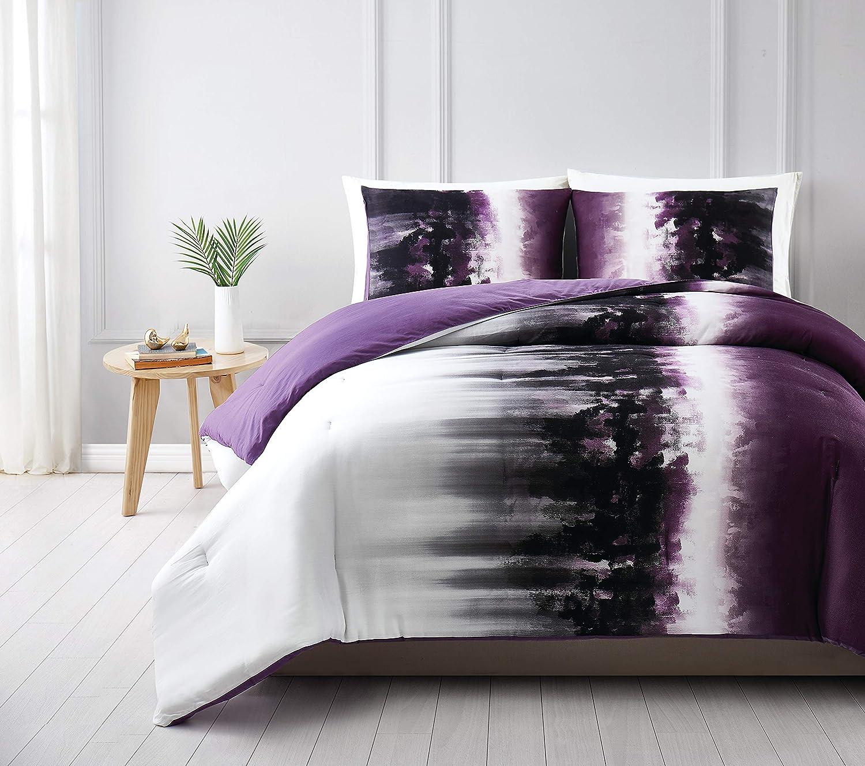 Vince Camuto Mirrea Duvet Set, King, White/Purple