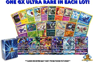 100 Random Pokemon Cards - 1 GX Ultra Rare Card, 4 Reverse Holographic Cards, 95 Commons/Uncommons - Authentic with No Duplication - Includes Golden Groundhog Deck Storage Box!