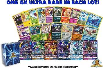 Lote de 100 Cartas Pokemon, GX Rares – Foil Rares! Incluye Caja Dorada de Groundhog.: Amazon.es: Juguetes y juegos