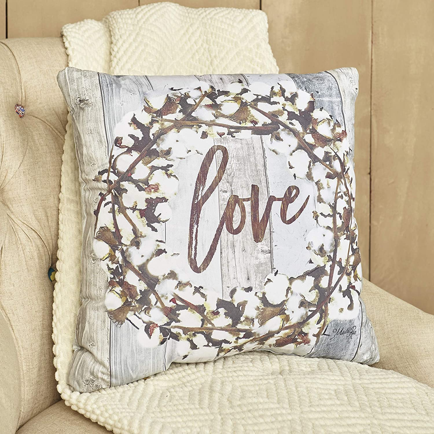 "The Lakeside Collection Cotton Boll Furniture Accent Pillow - Love - Farmhouse 17"" Throw Cushion"