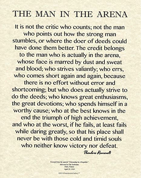 Man In The Arena Quote | Desiderata Gallery 11x14 Words Of Wisdom By Theodore Roosevelt The Man In The Arena Archival Parchment Print