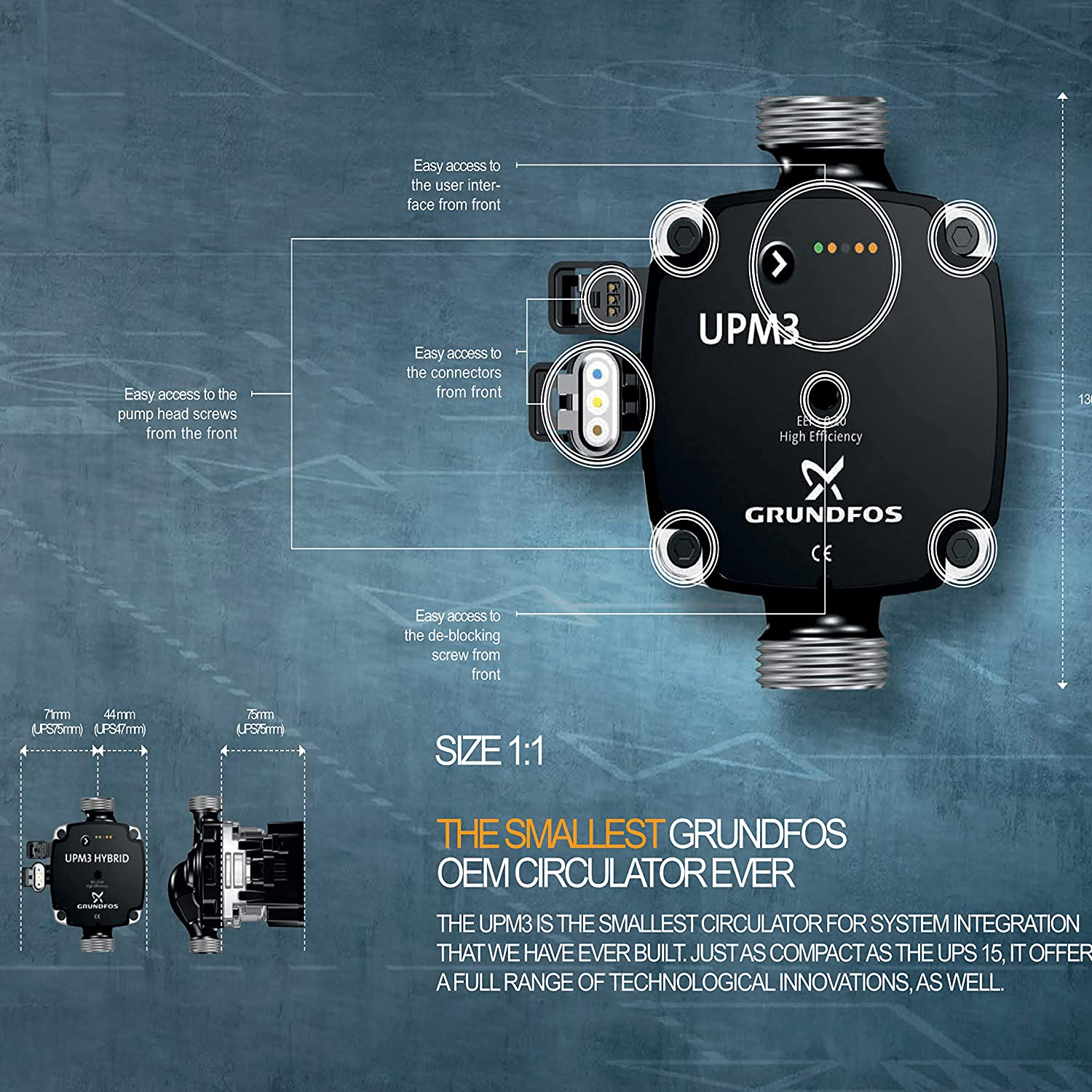 Grundfos UPM3 Flex AS Perfect for Water Underfloor Heating Circulation Pump for HVAC Systems Including Kudos Tradings Next Working Day Prime Delivery.