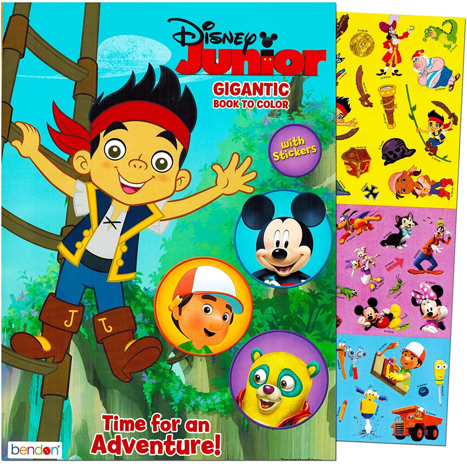 Amazon Disney Junior Gigantic Coloring Book For Boys With Stickers 224 Pages Featuring Mickey Mouse Jake And The Never Land Pirates Handy Manny