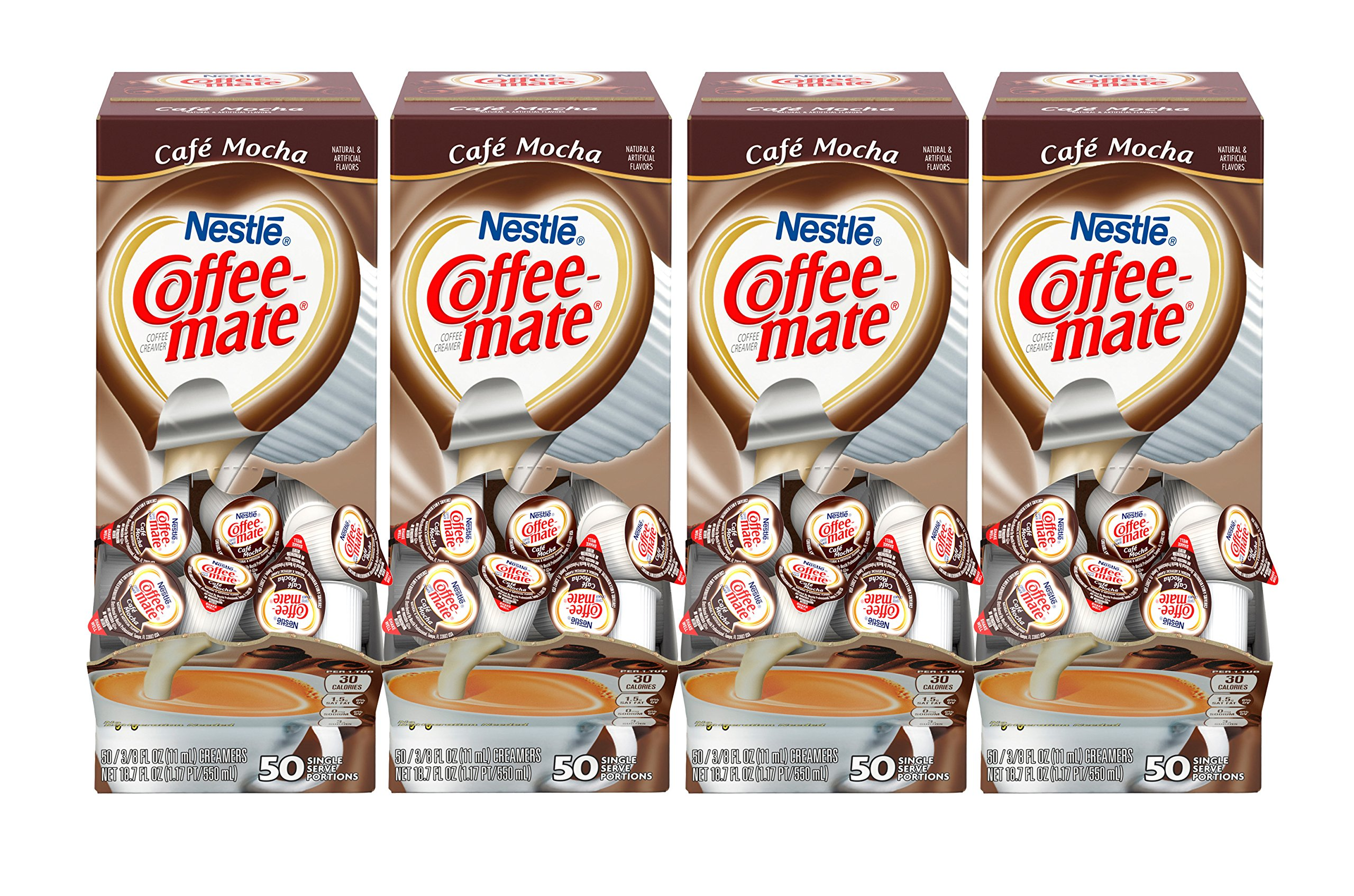 NESTLE COFFEE-MATE Coffee Creamer, Cafe Mocha, liquid creamer singles, 50 Count (Pack of 4) by Nestle Coffee Mate