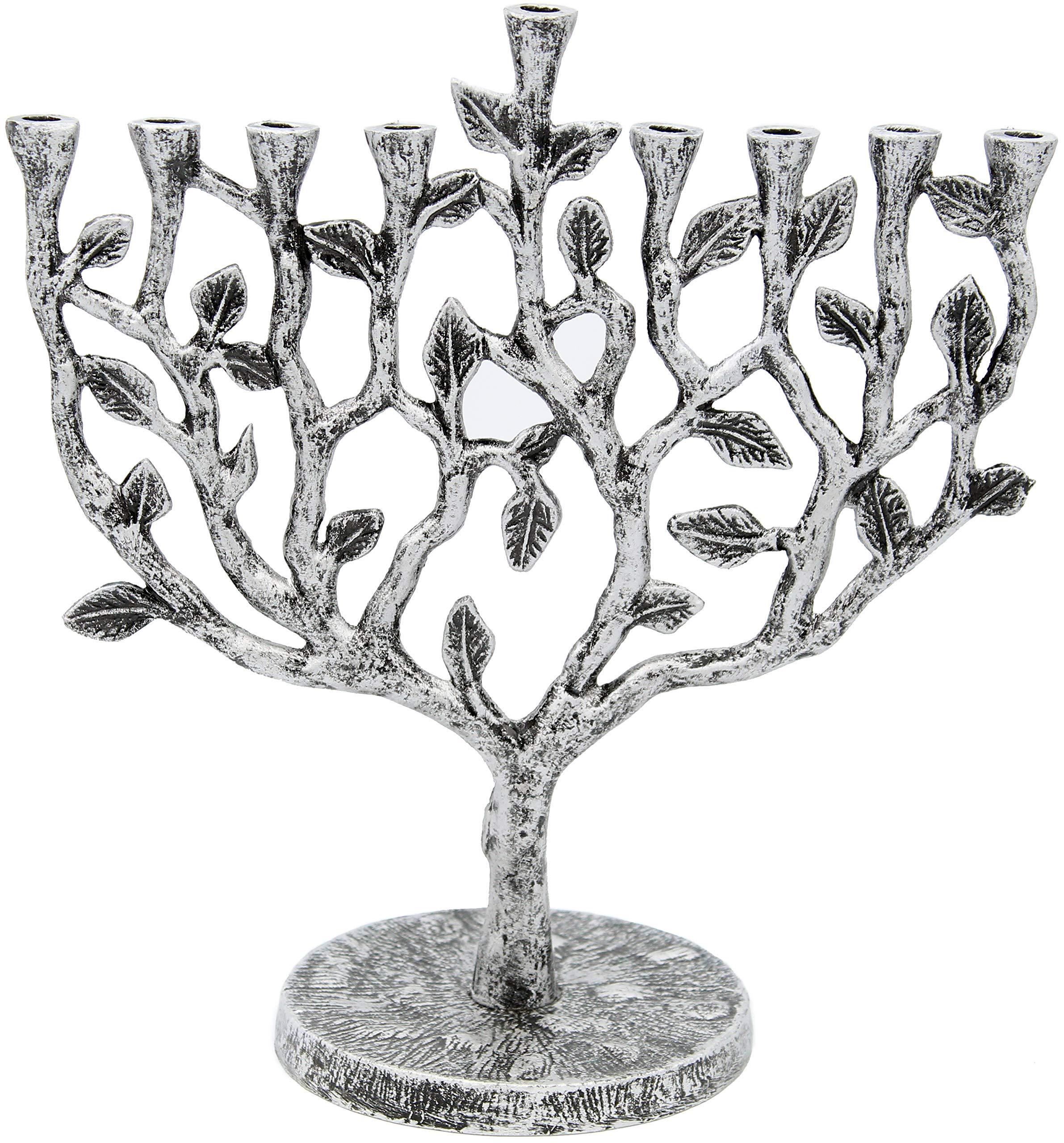 Hanukkah Menorah Tree of Life Antique Silver Finish by The Dreidel Company