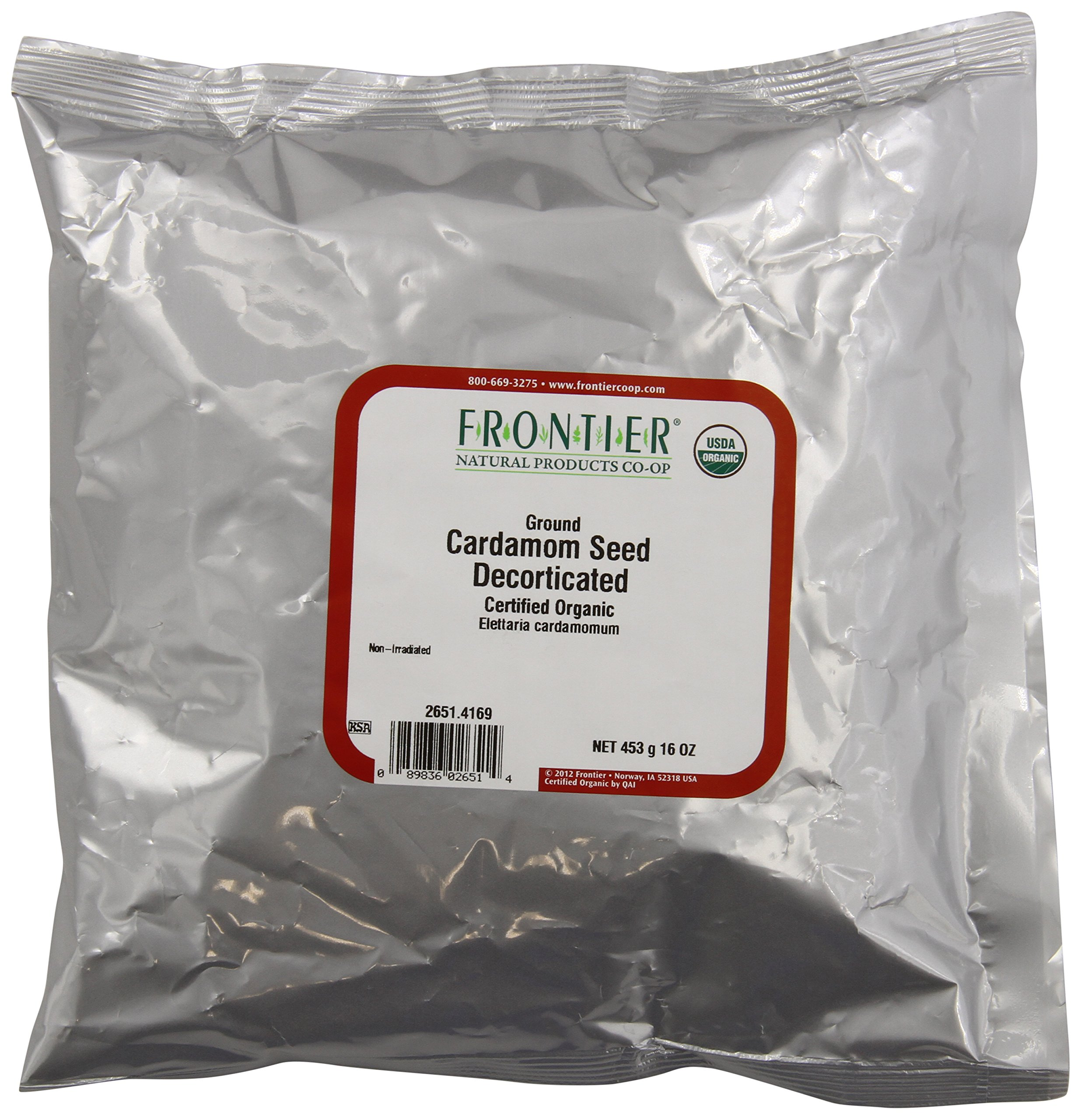 Frontier Cardamom Seed, Decorticated (no Pods), Powder Certified Organic, 16 Ounce Bag