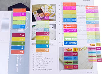 Page Marker Coloured Tabs 12 Packs of 200 Sticky Neon Text Highlighter Strips