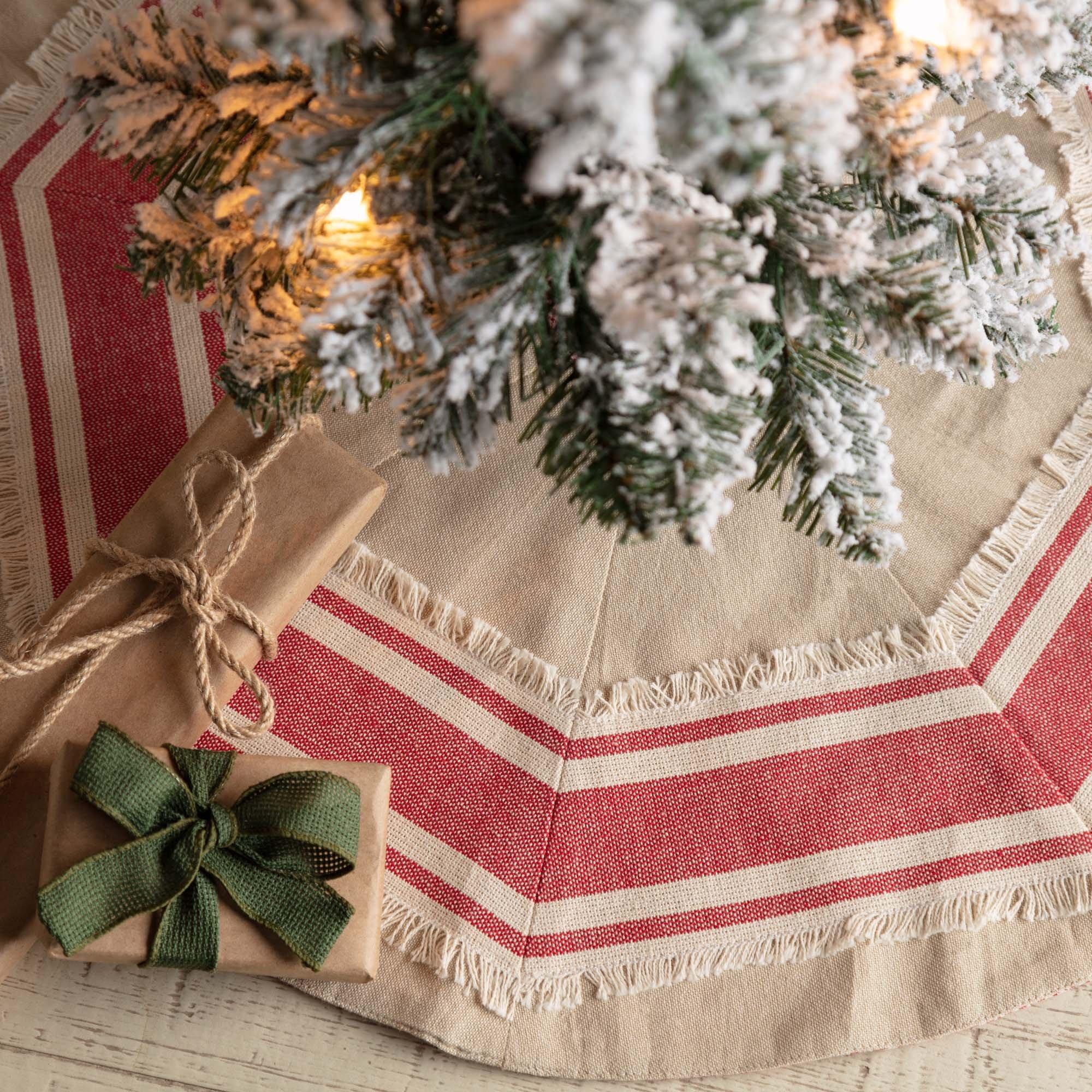 Piper Classics Farmhouse Red Grain Sack Stripe Mini Tree Skirt, 21'' Diameter, Country Farmhouse Christmas Holiday Seasonal Decor