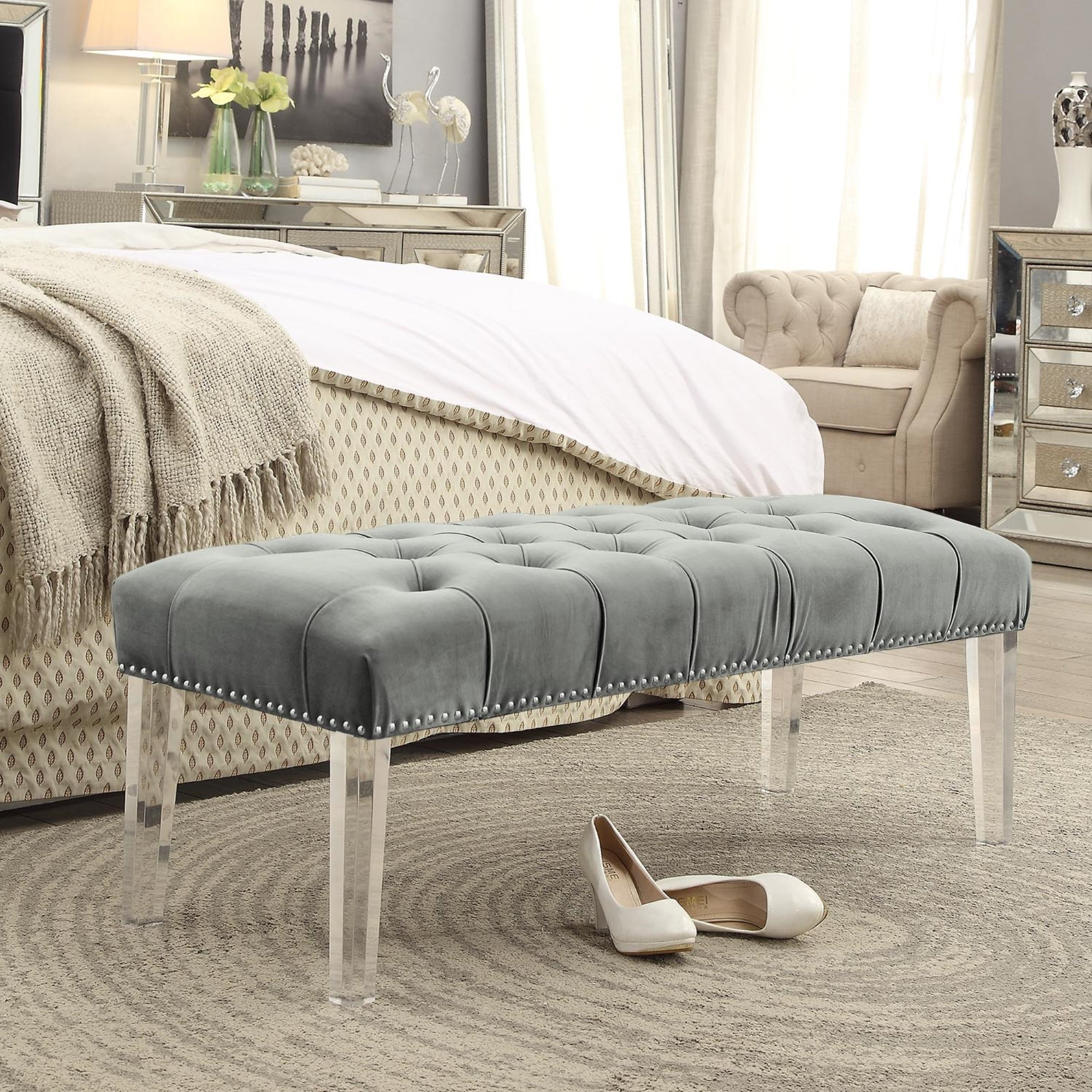 Inspired Home Victoria Velvet Button Tufted with Silver Nailhead Trim Clear Acrylic Legs Ottoman Bench, Grey