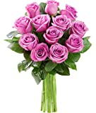 KaBloom Bouquet of 12 Fresh Cut Purple Roses (Farm-Fresh, Long-Stem)