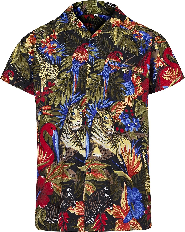 Men/'s Hawaiian Shirt Palm Tree Stag Beach Party Holiday Aloha Fancy Dress