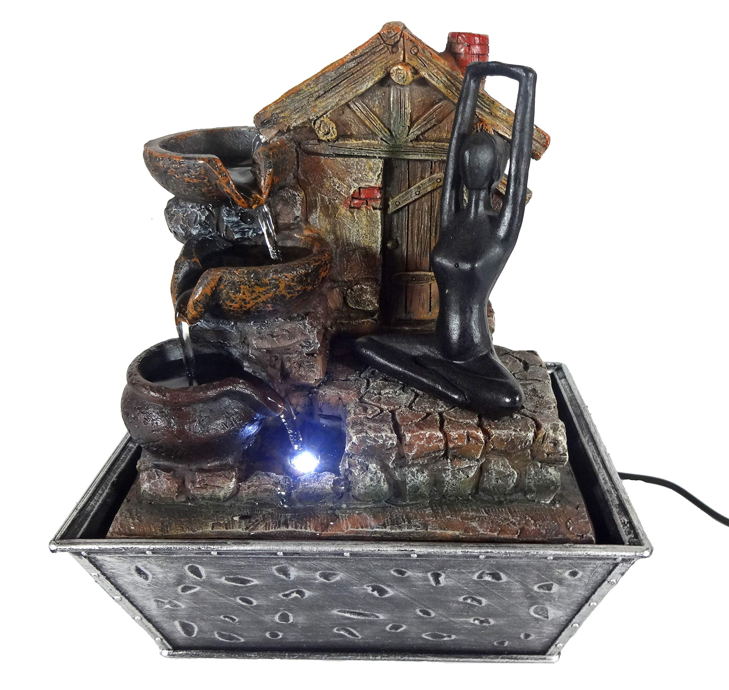 GiftsRDecor Tabletop Fountain Yoga Meditation Near Hut Water Falling Bowls