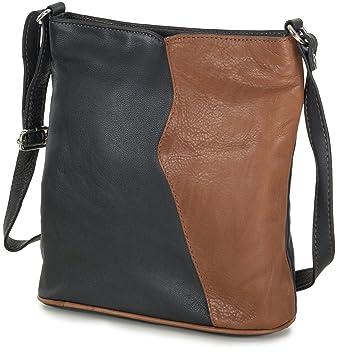 ac07453771d0a Kleine Damen Handtasche Leder Umhängetasche Crossover Bag italienisch  schwarz mit cognac braun (24x24x8 cm)