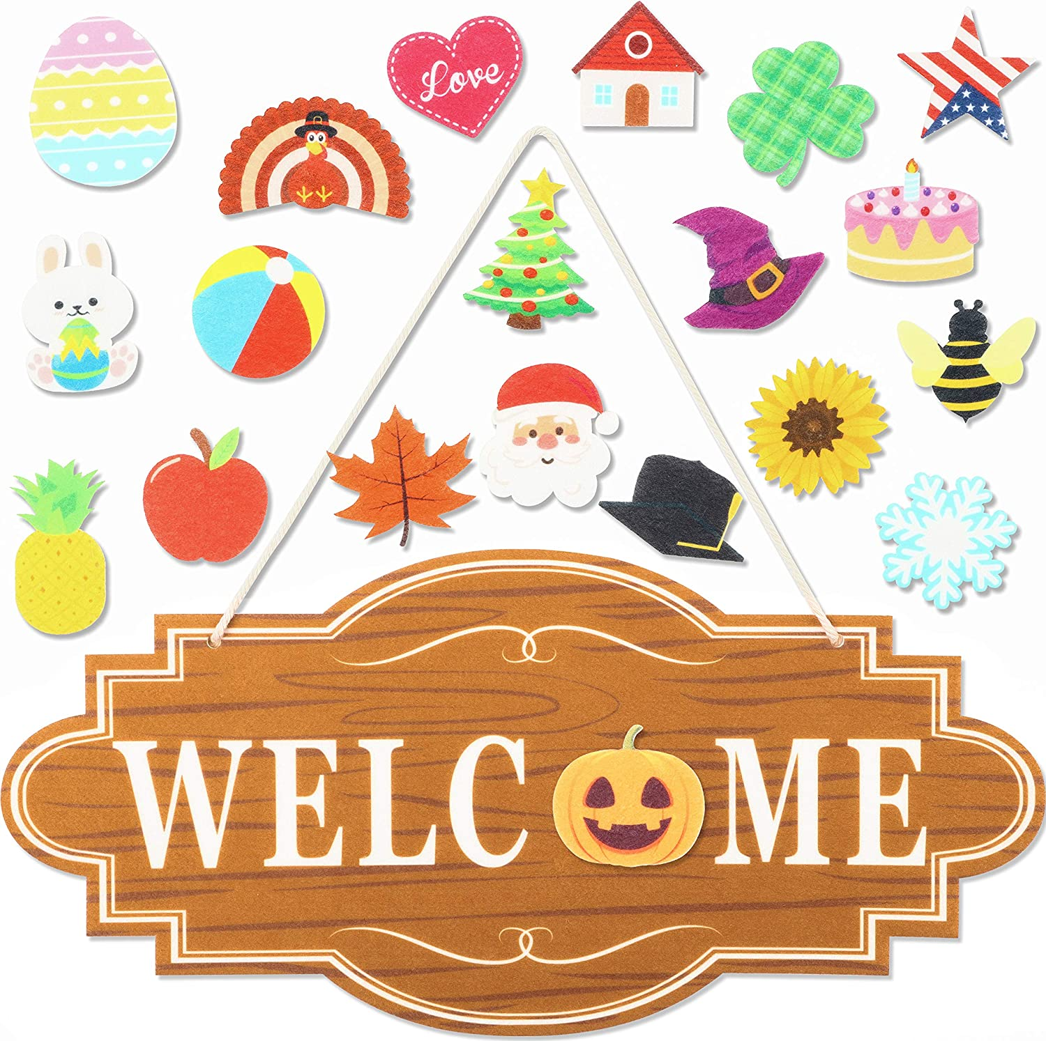 WATINC 21 Pcs Interchange Seasonal Welcome Sign Felt Door Decor with Velcro Front Porch Hanging Plaque for Fall Halloween Thanksgiving Christmas Winter Valentines Easter St. Patrick's Day