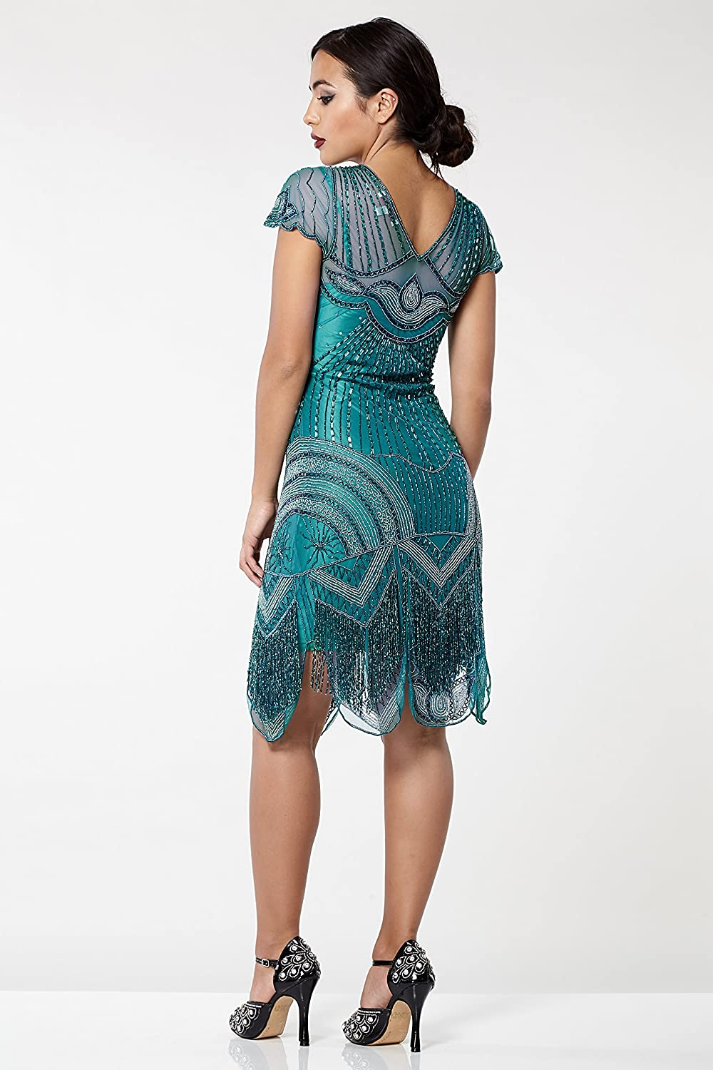 Beatrice Vintage Inspired Fringe Flapper Dress in Teal at Amazon ...
