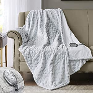 Hyde Lane Premium Heated Faux Fur Throw Blanket
