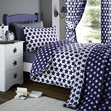 Blue Curtains blue curtains with white stars : Etoile Navy Blue & White Stars Print 66