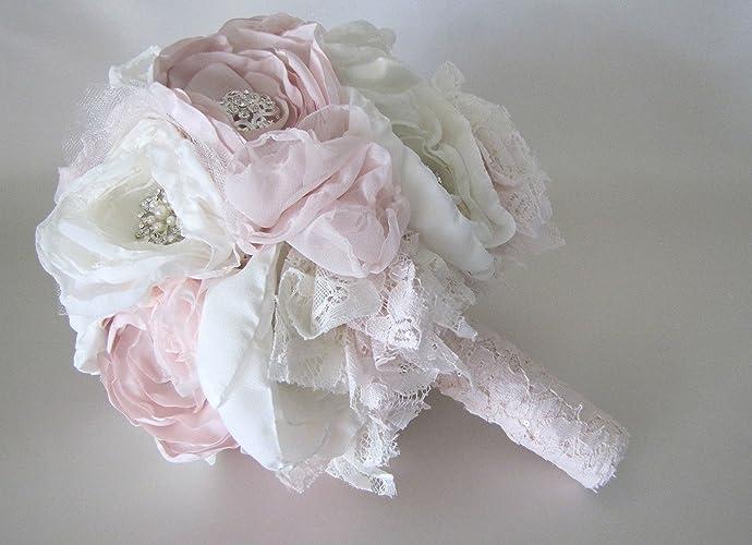 Amazon.com: Blush Pink Wedding Bouquet, Cream Fabric Flower Rustic ...