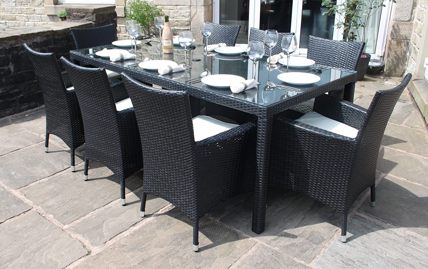 Marvelous Rattan Outdoor 8 Seater Garden Furniture Dining Set In Black: Amazon.co.uk:  Garden U0026 Outdoors