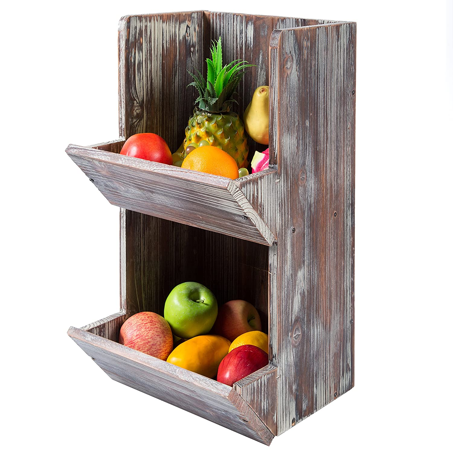 2 Tier Rustic Torched Wood Fruit Produce Storage Rack, Wall Mountable Display Bins MyGift SPOMHNK3542