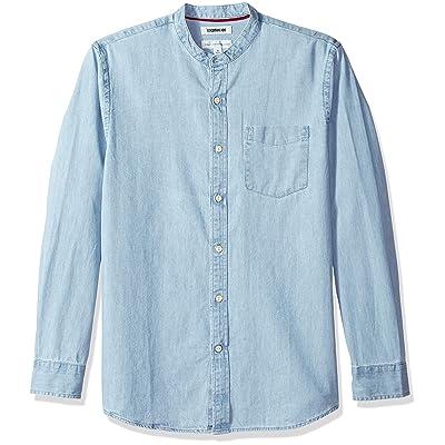 Brand - Goodthreads Men's Standard-Fit Long-Sleeve Band-Collar Denim Shirt: Clothing