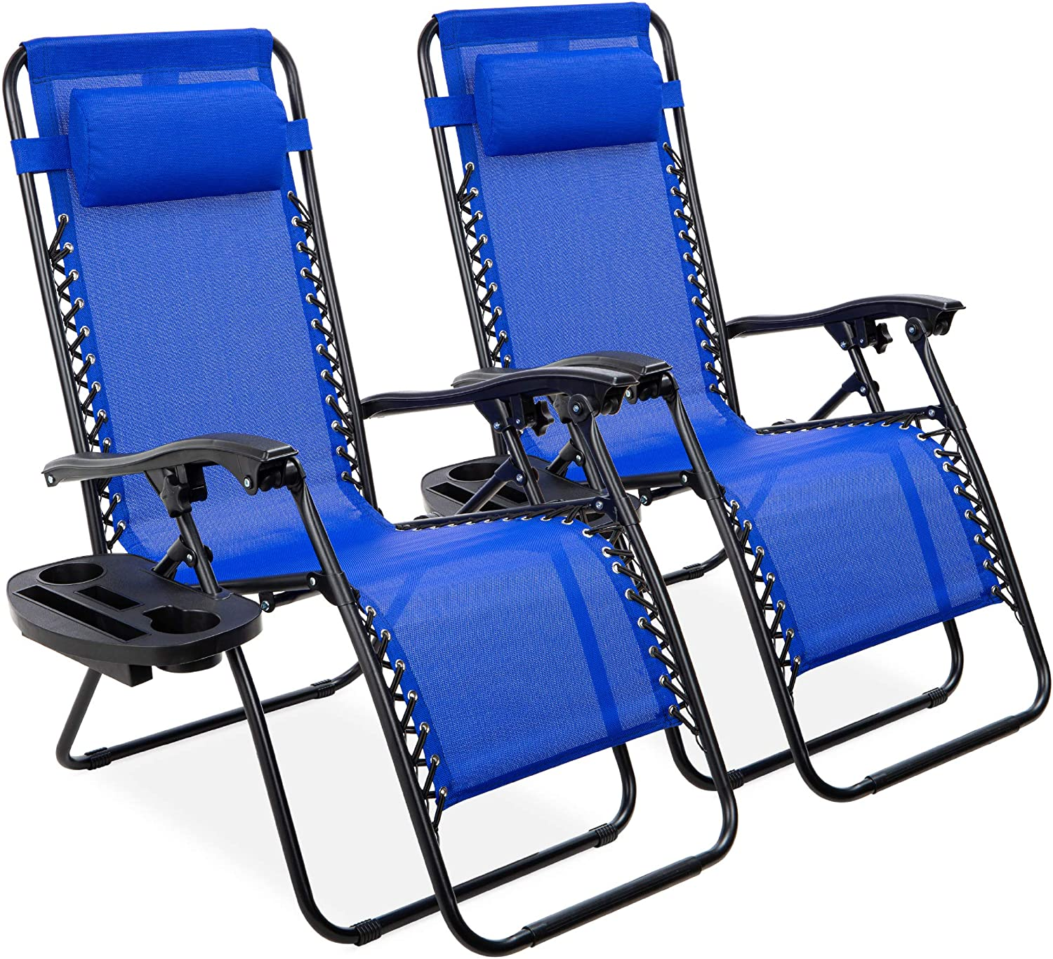 Best Choice Products Set of 2 Adjustable Steel Mesh Zero Gravity Lounge Chair Recliners w/Pillows and Cup Holder Trays, Cobalt Blue
