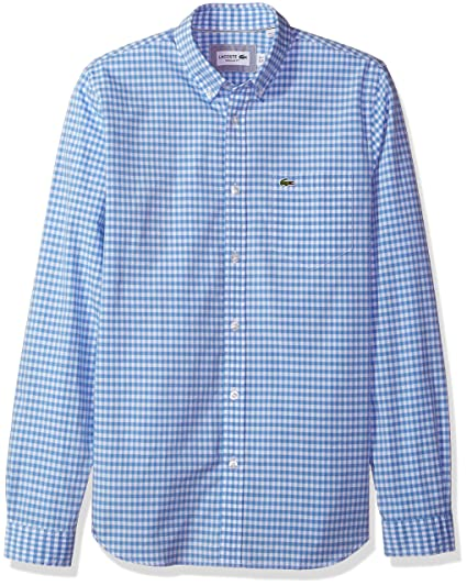 c4595caf66 Lacoste Men's Long Sleeve with Pocket Gingham Poplin Regular Fit Woven  Shirt, CH9559