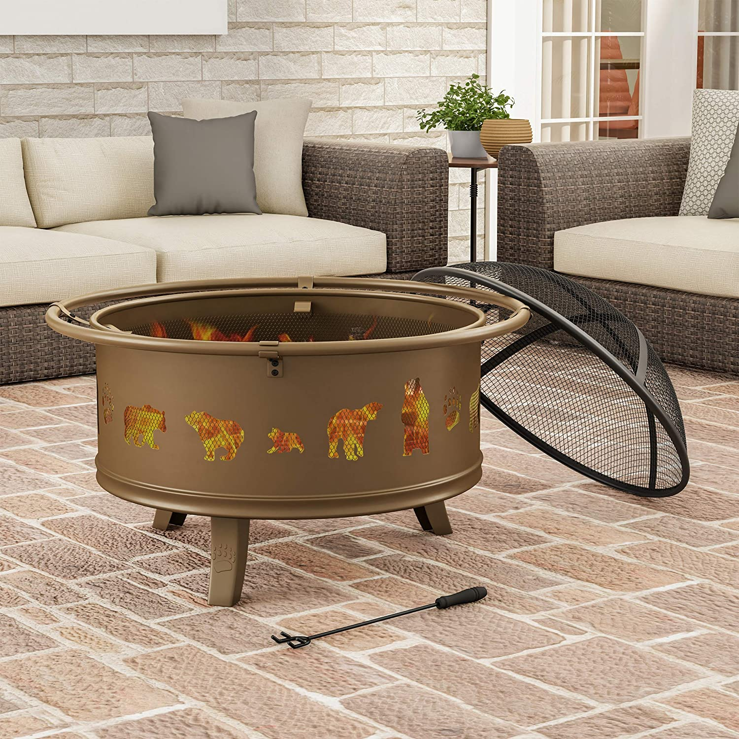 "Pure Garden 50-LG1202 Round Large Steel Bowl with Bear Cutouts, Mesh Spark Screen, Log Poker & Storage Cover 32"" Outdoor Deep Fire Pit, Brown"