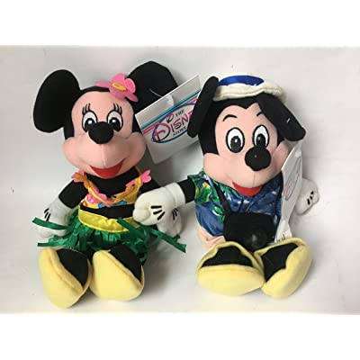 Disney Bean Bag Plush Mickey Mouse and Minnie Mouse Dressed As Tourist: Toys & Games