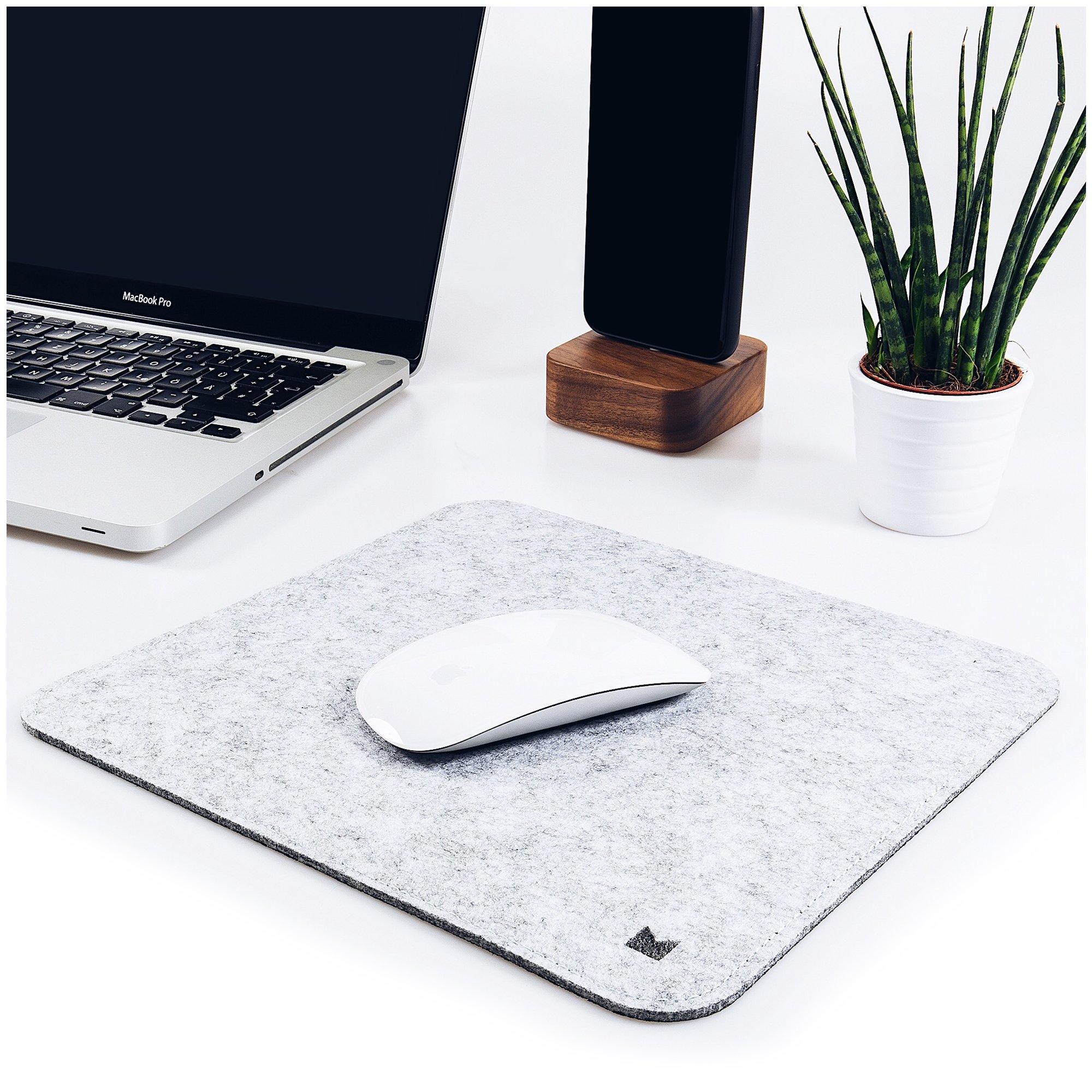 FORMGUT® // Mousepad, Untersetzer aus Filz, Mausunterlage, Mauspad, Gaming, Designer, Schreibtisch Pads, Laptop Zubehör, Apple Mouse Filzpad mit Antirutsch Beschichtung // Hellgrau