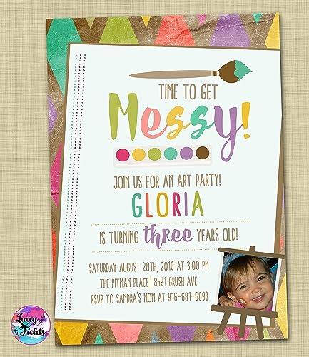 amazon com art birthday party invitation set of 10 paint party