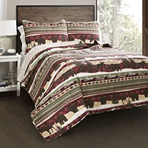 Lush Decor Holiday Lodge 3 Piece Quilt Set, King, Red & Brown