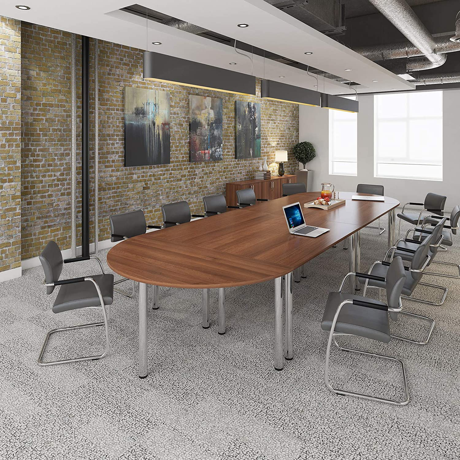 maple OFP Direct Radial end meeting table 2400mm x 1000mm with 6 chrome radial legs