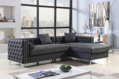 Iconic Home Bosch Right Hand Facing Sectional Sofa L Shape Chaise PU Leather Button Tufted