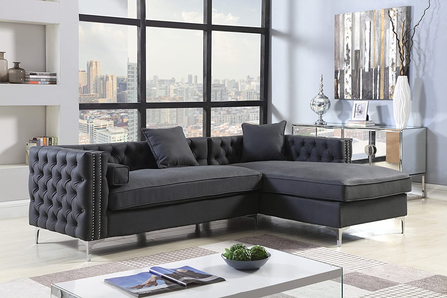 Iconic home bosch right hand facing sectional sofa l shape chaise pu leather button tufted with silver nailhead trim silvertone metal leg with 3 accent