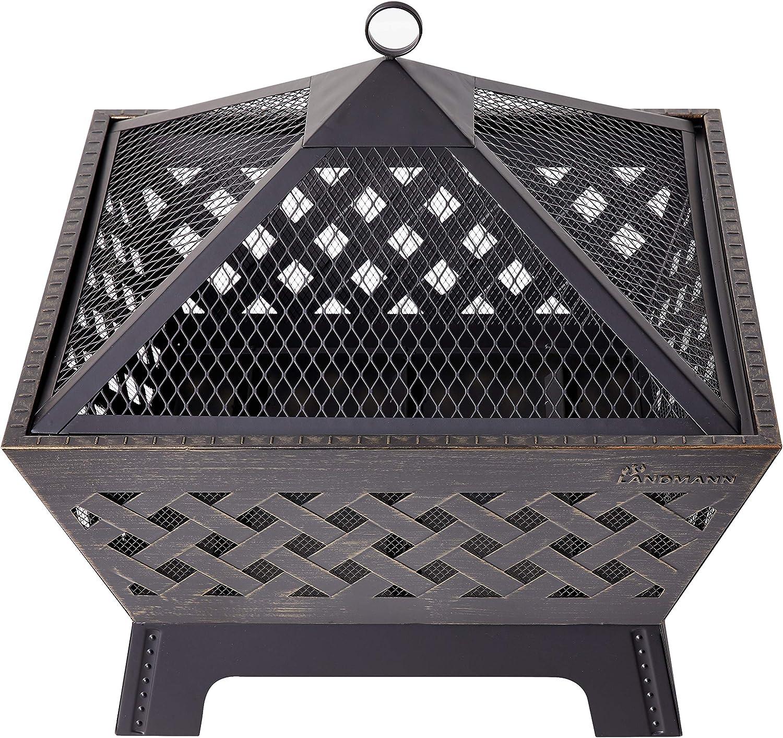 Amazon Com Landmann 25282 Barrone Fire Pit 26 Quot Antique Bronze Decorative Fireplace Grates Garden Outdoor