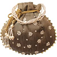 Milan's Creation : Designer Potli Bag with Pearl & Zardosi Hand Embroidered Silk Women's Handbag Pearl Handle Tassel Purse