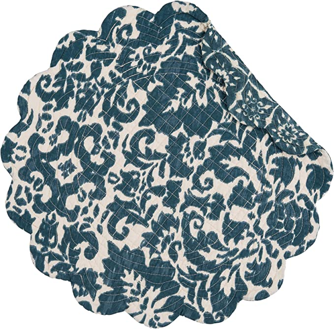 Amazon Com C F Home Madison Adriatic 17 X 17 Round Placemat Set Of 6 Quilted Reversible Cotton Floral Geometric Table Mat For Kitchen Dining Table Round Placemat Set Of 6 Blue Home