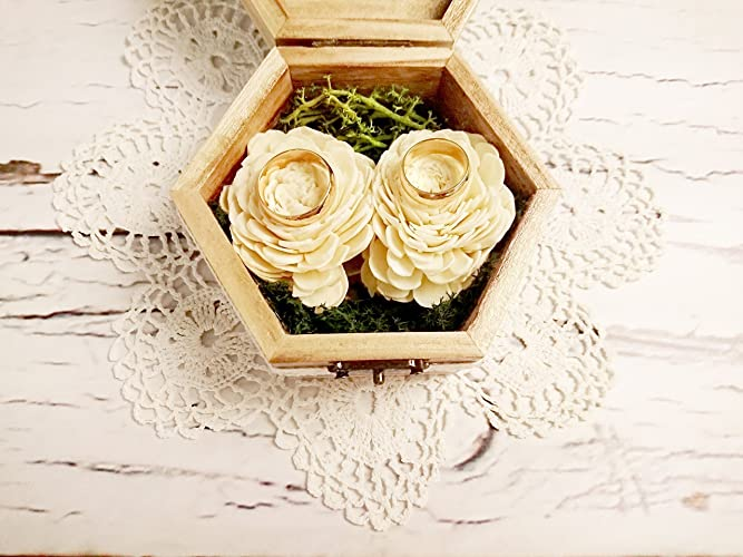 Amazon.com: Wedding Rings Box in Rustic Woodland Style with Natural ...