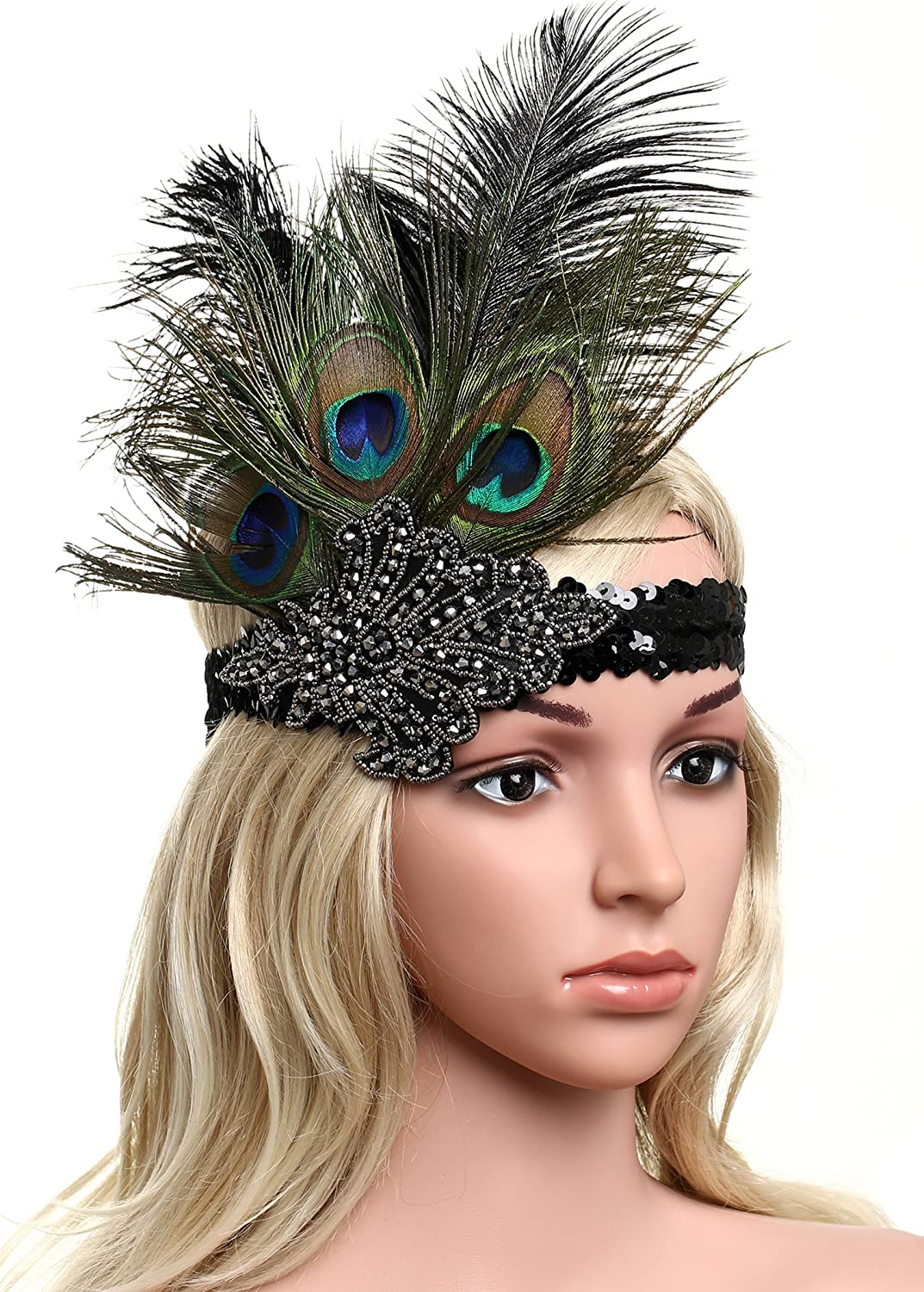 1920s Flapper Costume : How to Guide BABEYOND 1920s Flapper Peacock Feather Headband 20s Sequined Showgirl Headpiece $11.99 AT vintagedancer.com