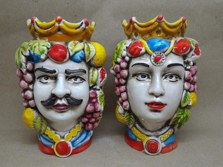 Teste di moro in ceramica sicilianaCOLOR EDITION coppia 14 cm