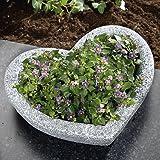 Tri Gartenschale, Pflanzschale in Herz-Optik Garten Balkon Pflanzkübel Blumenkübel wetterfester Kunststein