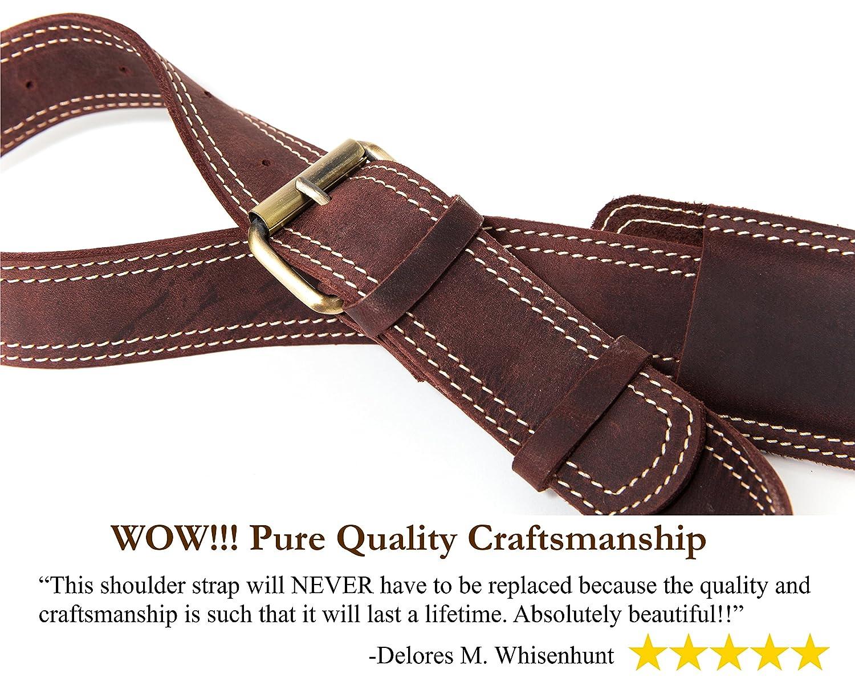 12b4563bfd90 Amazon.com  Messenger Bag Strap Replacement - Quality Genuine Cowhide  Leather Adjustable Shoulder Strap  for Messenger