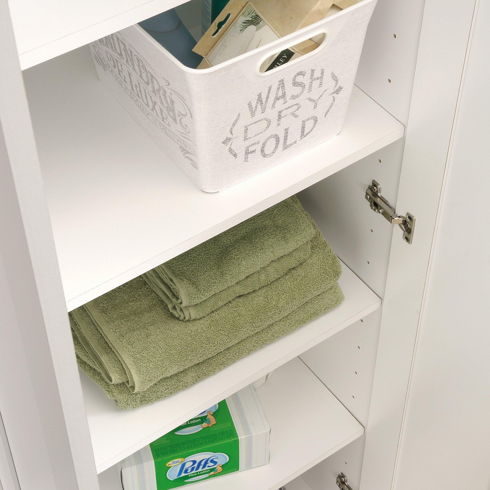 Sauder 422425 HomePlus Storage Cabinet, L: 23.31″ x W: 17.01″ x H: 70.91″, Soft White finish