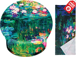 Claude Monet Water Lilies VI Ergonomic Design Mouse Pad with Wrist Rest Hand Support. Round Large Mousing Area. Matching Microfiber Cleaning Cloth for Glasses & Screens. Great for Gaming & Work