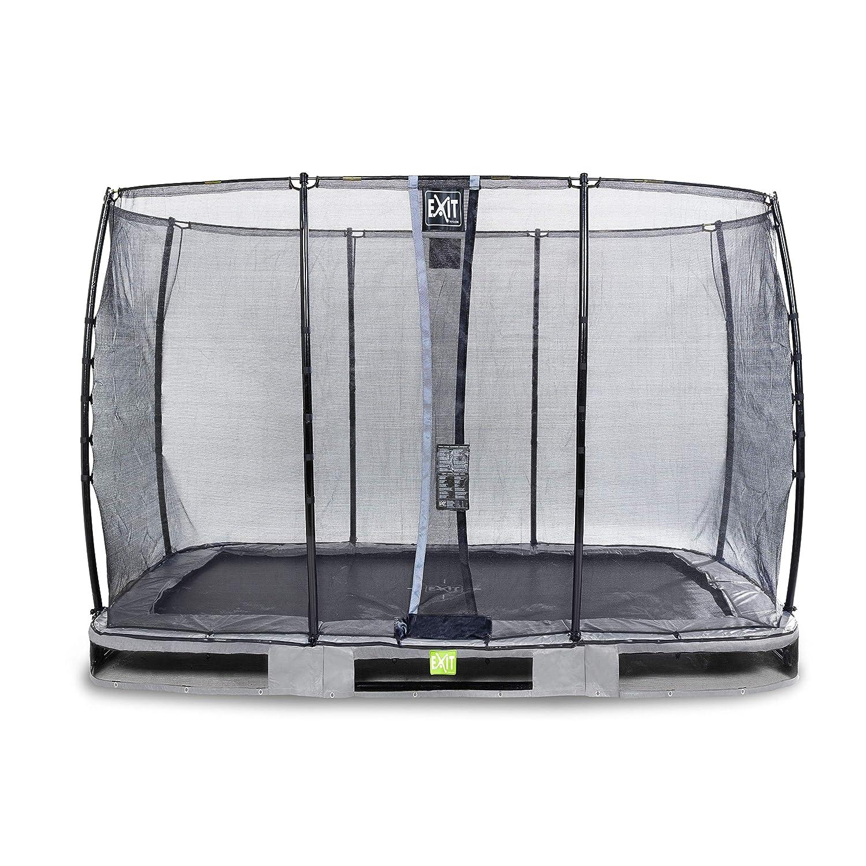 EXIT Elegant Premium InGründ-Trampolin 214x366cm mit Economy Sicherheitsnetz - grau